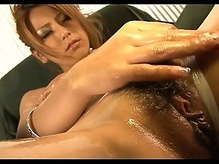 Horny asian gets wet with sex toy