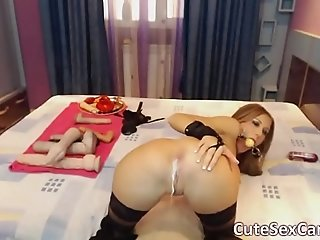 Big Titted Latex Babe Anal Masturbation on Webcam
