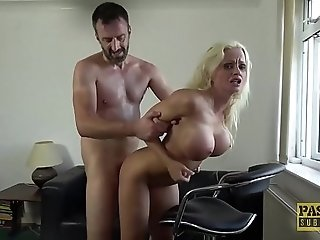 Busty British bimbo drilled hard in all of her holes
